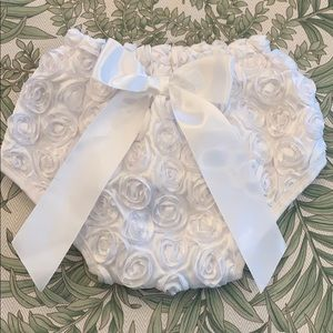 Gorgeous rosette and satin bow diaper cover